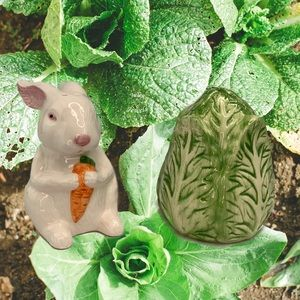 Other - Bunny and Cabbage Ceramic Salt & Pepper Shaker